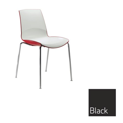 Ice 4 Leg Stacking Chair Black Outer Shell Ref MNO1