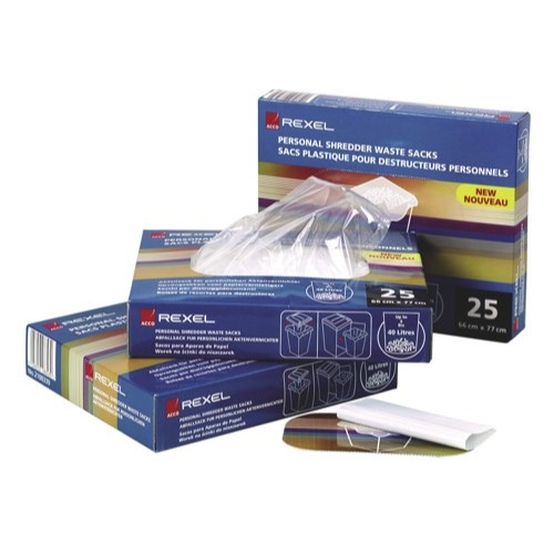 Rexel Multi Fit Waste Sacks For Destroyer Shredder WS2H Box 50 Ref 40014