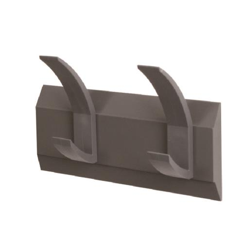 Acorn Linear Coat Rack Wall Mounted 2 Hooks Graphite