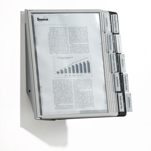 Durable Sherpa Display Wall Unit Complete 10 Index Tabs With 5 Black and 5 Grey Panels 5631/22 Each
