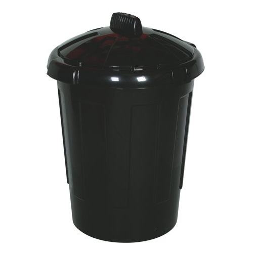 Strata Refuse Bin Secure With Lid 80 Litre Black Ref VRSB1N1