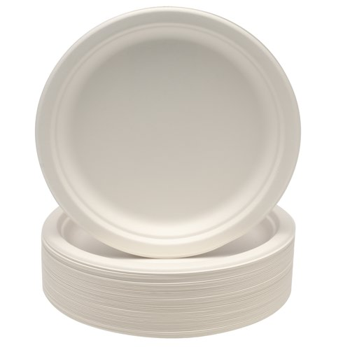 Disposable Super Rigid Biodegradable Plates 230mm 9 Inch Diameter White (Pack of 50) Ref 3864