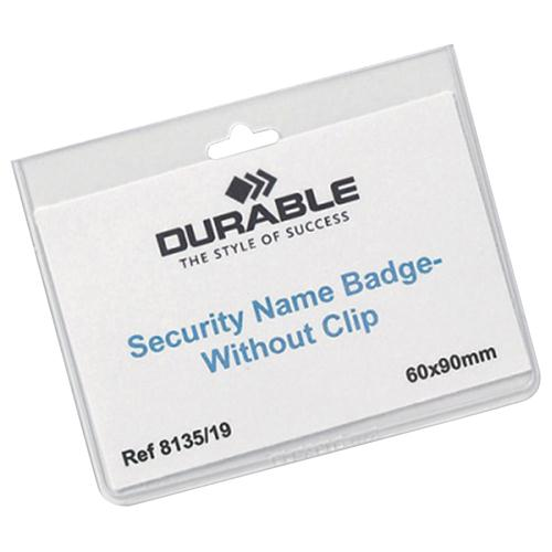 Durable 60x90mm No Clip Security Badges with Inserts Pack of 20
