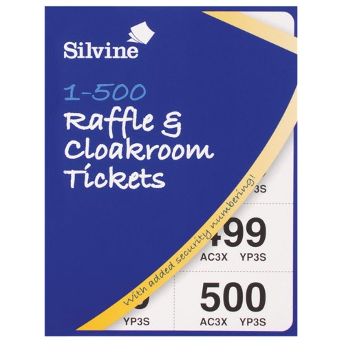 Silvine Cloakroom And Raffle Tickets 1-500 with Security Numbering, 555