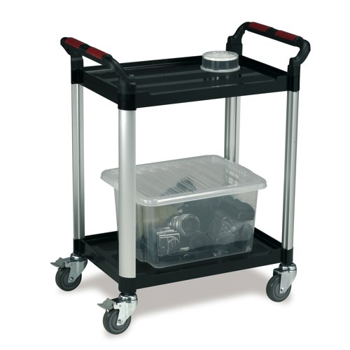 Standard Plastic Tray Trolley Black/Silver Ref WHTT2SS