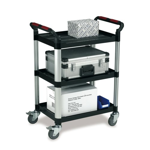 Standard Plastic Tray Trolley 3 Shelf Black/Silver Ref WHTT3SS
