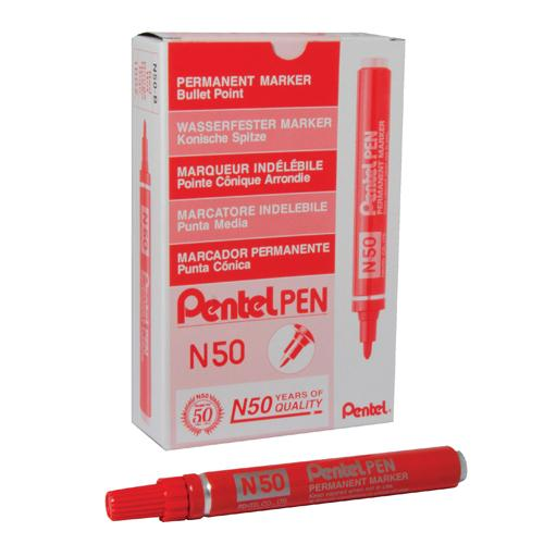 Pentel Permanent Marker Bullet Tip Red N50-B