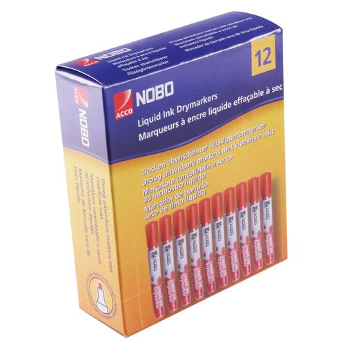 Nobo Liquid Ink Dry Wipe Marker Bullet Tip Red 1901074