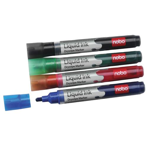 Nobo Liquid Ink Dry Wipe Marker Assorted Pk 6 1901077