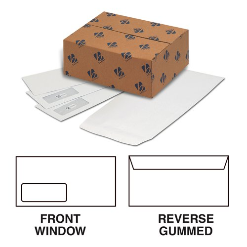 Purely Enviro Mailing Wallet Envelopes DL++ 114x235mm 90gsm Window White Gummed Box 1000 Ref 3909
