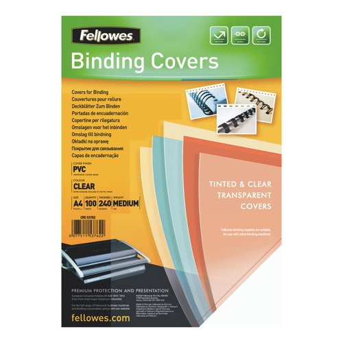 Fellowes Transparent Plastic A4 Binding Covers Pack of 100