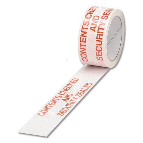 Business Office Printed Tape Contents Checked and Sealed Polypropylene 48mmx66m Red Text on White Pack 6