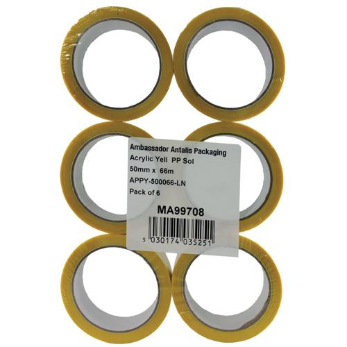 Polypropylene Tape 50mm x 66m Yellow 62050662