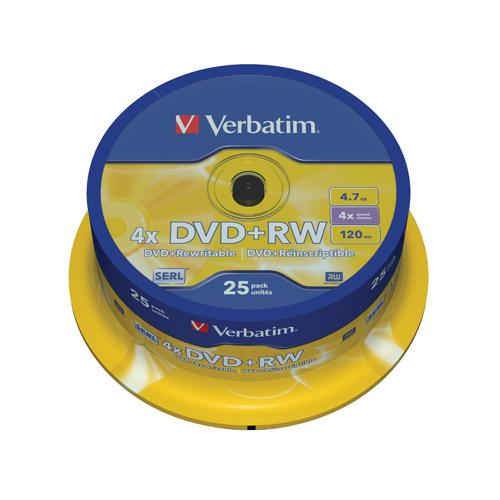 Verbatim DVD+RW 4x Spindle Pk 25 43489