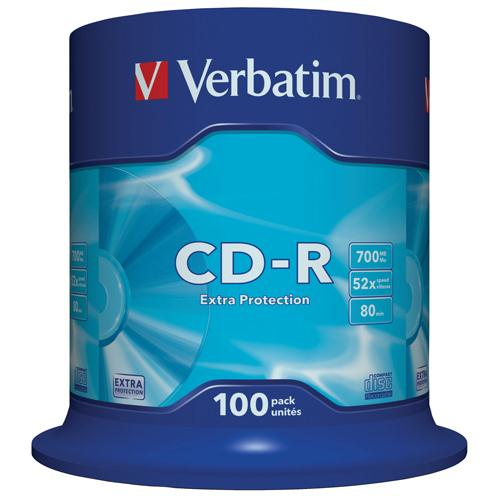 Verbatim CD-R Datalife Non-AZO 80minutes 52X Non-Printable Spindle Pk 100 43411