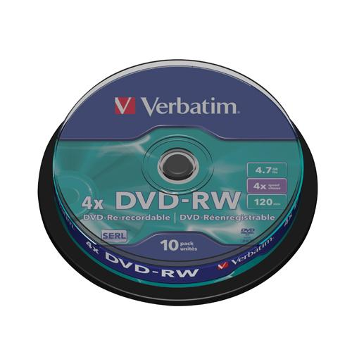 Verbatim DVD-RW 4X Pk 10 Spindle 43552